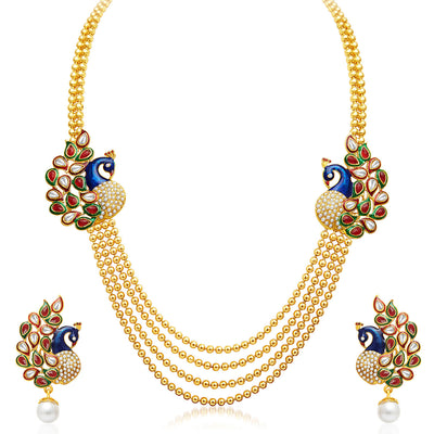 Sukkhi Pretty 4 String Gold Plated Set of 2 Necklace Set Combo For Women-3