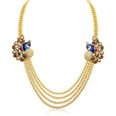 Sukkhi Gleaming Peacock Four Strings Gold Plated Necklace Set-3