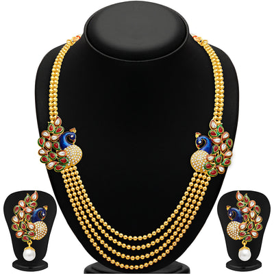 Sukkhi Gorgeous Peacock Gold Plated Set of 3 Necklace Set Combo For Women-1
