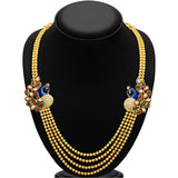 Sukkhi Gleaming Peacock Four Strings Gold Plated Necklace Set-2