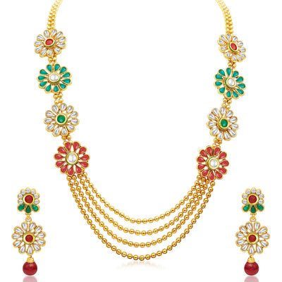 Sukkhi Beguiling Four Strings Gold Plated Necklace Set-1
