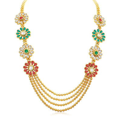 Sukkhi Beguiling Four Strings Gold Plated Necklace Set-3