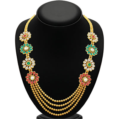 Sukkhi Beguiling Four Strings Gold Plated Necklace Set-2