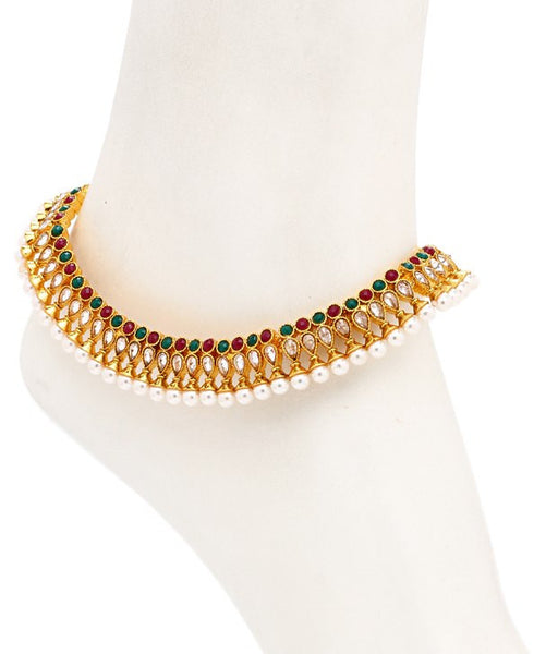 Sukkhi Youthful Gold Plated Australian Diamond Stone Studded Anklet