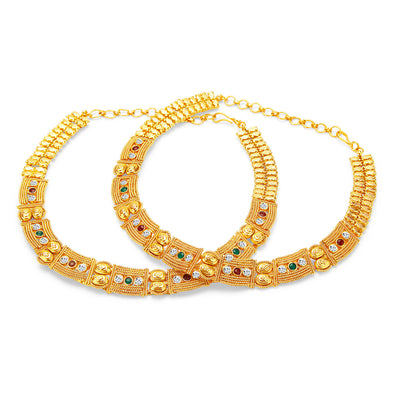 Sukkhi Stylish Gold Plated AD Anklet For Women
