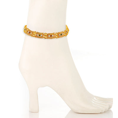 Sukkhi Stylish Gold Plated AD Anklet For Women-1