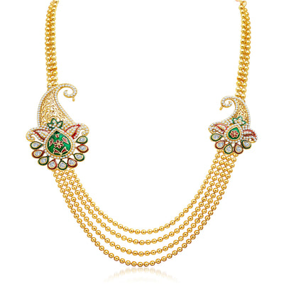 Sukkhi Alluring Four Strings Gold Plated Necklace Set-3