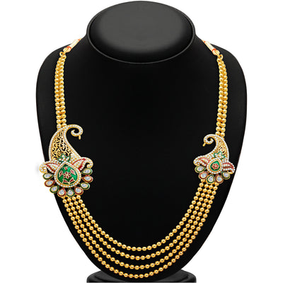 Sukkhi Alluring Four Strings Gold Plated Necklace Set-2