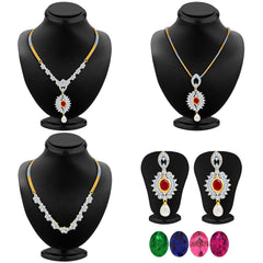 Pissara Youthful Detachable 4 in 1 CZ Jewellery Set with Chain and 5 Changeable Stone