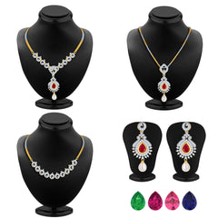 Pissara Elegant Detachable 4 in 1 CZ Jewellery Set with Chain and 5 Changeable Stone