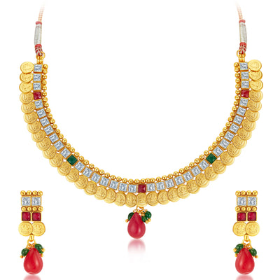 Sukkhi Glorious Gold Plated Temple Jewellery Necklace Set-1