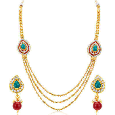 Sukkhi Attractive Three Strings Gold Plated Necklace Set-1