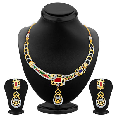 Sukkhi Modish Gold Plated Geometrical Shaped Necklace Set
