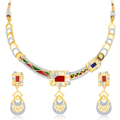 Sukkhi Modish Gold Plated Geometrical Shaped Necklace Set-1