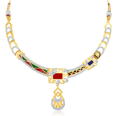 Sukkhi Modish Gold Plated Geometrical Shaped Necklace Set-3