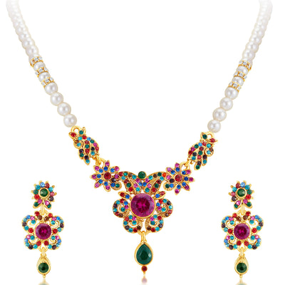 Sukkhi Delightful Gold Plated AD Necklace Set-1