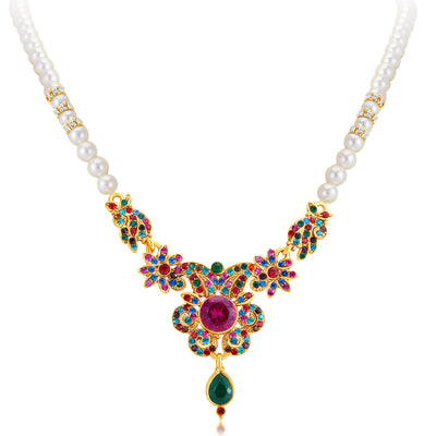 Sukkhi Delightful Gold Plated AD Necklace Set-3