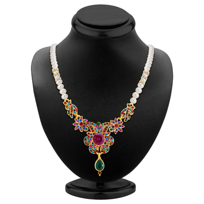 Sukkhi Delightful Gold Plated AD Necklace Set-2