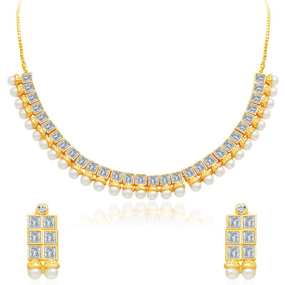 Sukkhi Angelic Gold Plated AD Necklace Set-1