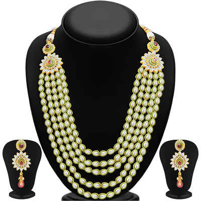 Sukkhi Gorgeous Five Strings Gold Plated Kundan Necklace Set