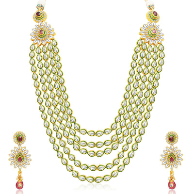 Sukkhi Gorgeous Five Strings Gold Plated Kundan Necklace Set-1