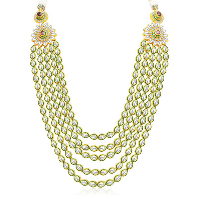 Sukkhi Gorgeous Five Strings Gold Plated Kundan Necklace Set-3