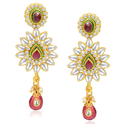Sukkhi Gorgeous Five Strings Gold Plated Kundan Necklace Set-5