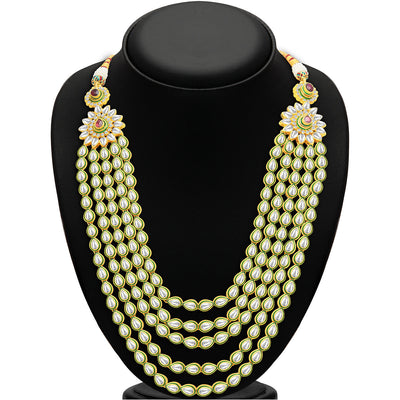 Sukkhi Gorgeous Five Strings Gold Plated Kundan Necklace Set-2