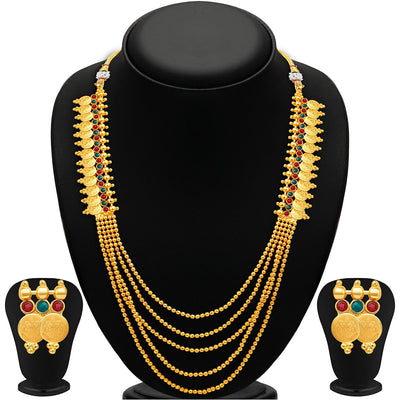 Sukkhi Glorious Five Strings Temple Jewellery Gold Plated Necklace Set