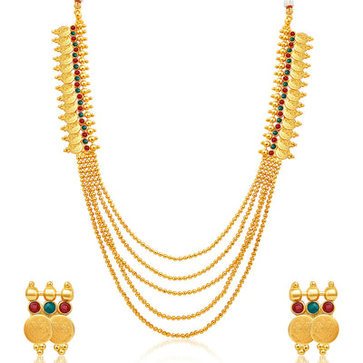 Sukkhi Glorious Five Strings Temple Jewellery Gold Plated Necklace Set-1