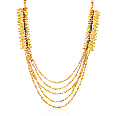 Sukkhi Glorious Five Strings Temple Jewellery Gold Plated Necklace Set-3