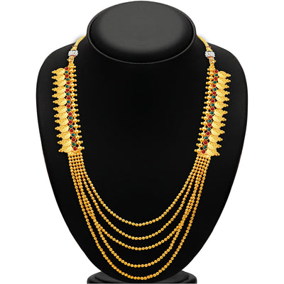 Sukkhi Glorious Five Strings Temple Jewellery Gold Plated Necklace Set-2