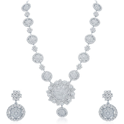 Sukkhi Astonishing Rhodium Plated AD Necklace Set-1
