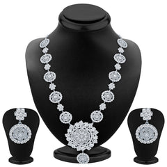 Sukkhi Astonishing Rhodium Plated AD Necklace Set