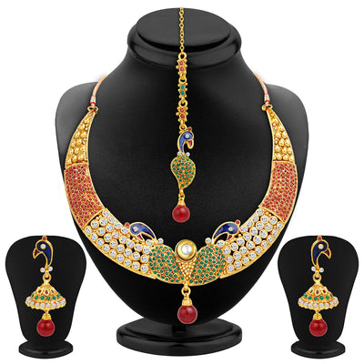 Sukkhi Intricately Crafted Peacock Gold Plated AD Necklace Set