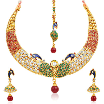 Sukkhi Intricately Crafted Peacock Gold Plated AD Necklace Set-1