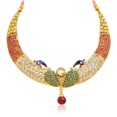 Sukkhi Intricately Crafted Peacock Gold Plated AD Necklace Set-3