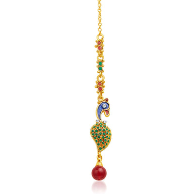 Sukkhi Intricately Crafted Peacock Gold Plated AD Necklace Set-7