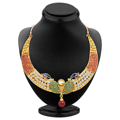 Sukkhi Intricately Crafted Peacock Gold Plated AD Necklace Set-2