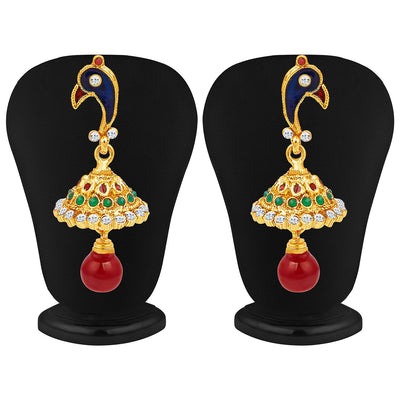Sukkhi Intricately Crafted Peacock Gold Plated AD Necklace Set-4