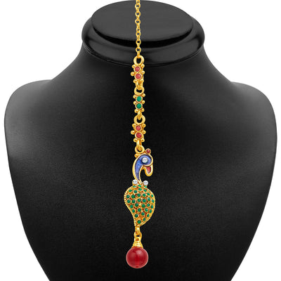 Sukkhi Intricately Crafted Peacock Gold Plated AD Necklace Set-6