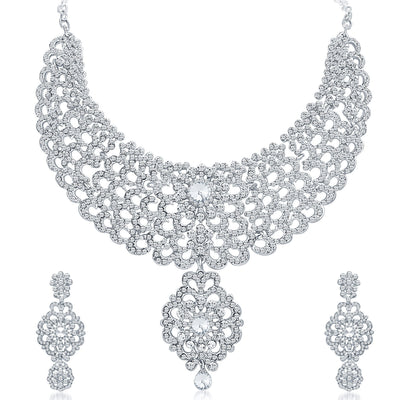 Sukkhi Creative Rhodium Plated AD Necklace Set-1