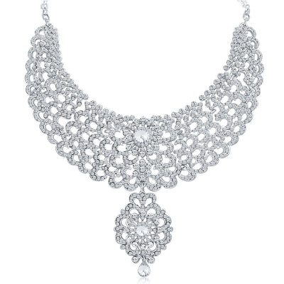 Sukkhi Creative Rhodium Plated AD Necklace Set-3