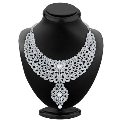 Sukkhi Creative Rhodium Plated AD Necklace Set-2