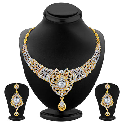 Sukkhi Sleek Gold and Rhodium Plated AD Necklace Set
