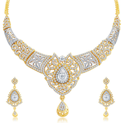 Sukkhi Sleek Gold and Rhodium Plated AD Necklace Set-1