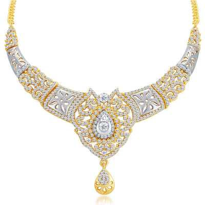 Sukkhi Sleek Gold and Rhodium Plated AD Necklace Set-3