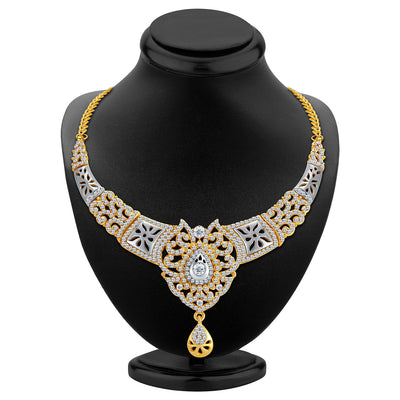 Sukkhi Sleek Gold and Rhodium Plated AD Necklace Set-2