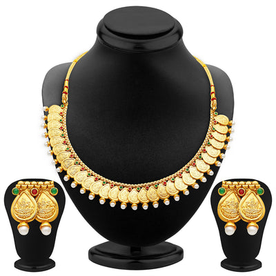 Sukkhi Magnificent Gold Plated Temple Jewellery Necklace Set