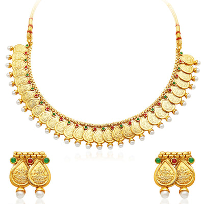 Sukkhi Magnificent Gold Plated Temple Jewellery Necklace Set-1